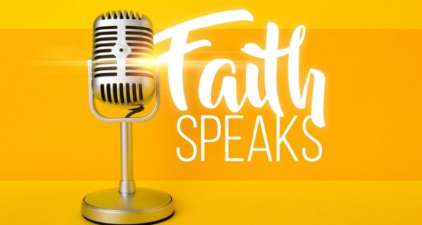 Microphone with the words Faith Speaks